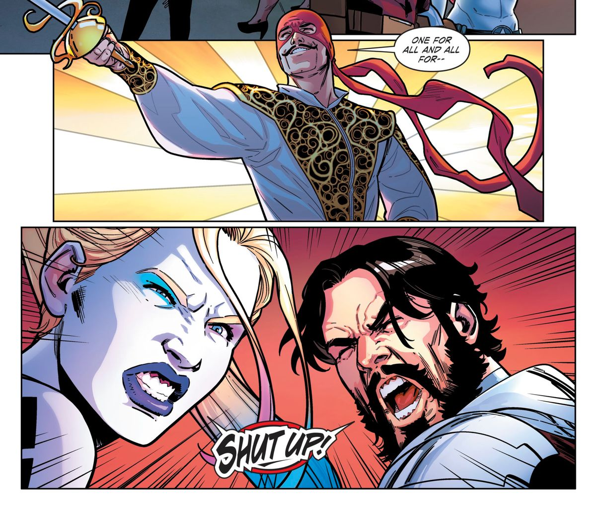 """Cavalier flourishes his saber and cries """"One for all and all for—"""" until he is interrupted by Harley Quinn and Deadshot yelling """"SHUT UP!"""" in Suicide Squad #1, DC Comics (2019)."""