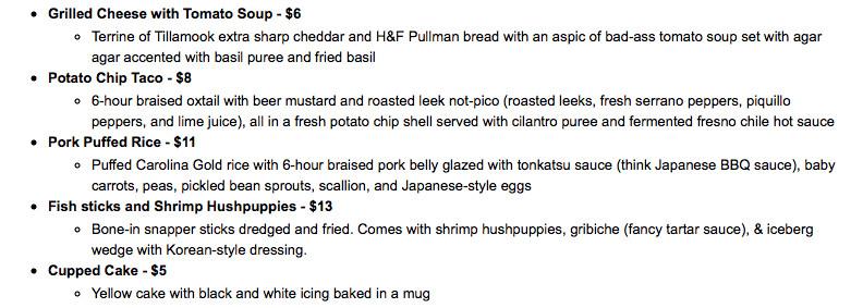 Junk Food opening menu