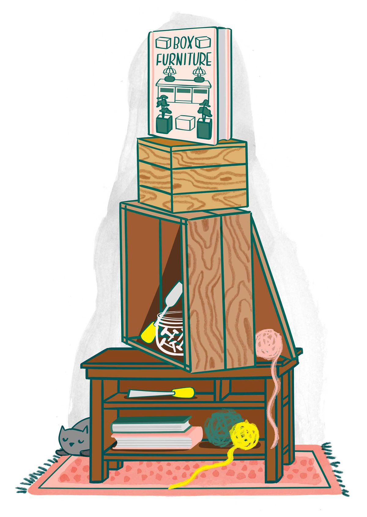 A vertical stack of wooden crates, arranged with tools and yarn balls tucked inside, sit with a book titled 'Box Furniture' propped on top. Illustration.