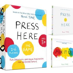French artist Hervé Tullet needs a medal for getting young kids off their parents' iPads with his interactive book, <b>Press Here</b>. Thanks to its wild success, <b>Press Here The Game</b> has arrived. The game features 25 colorful painted boards complet