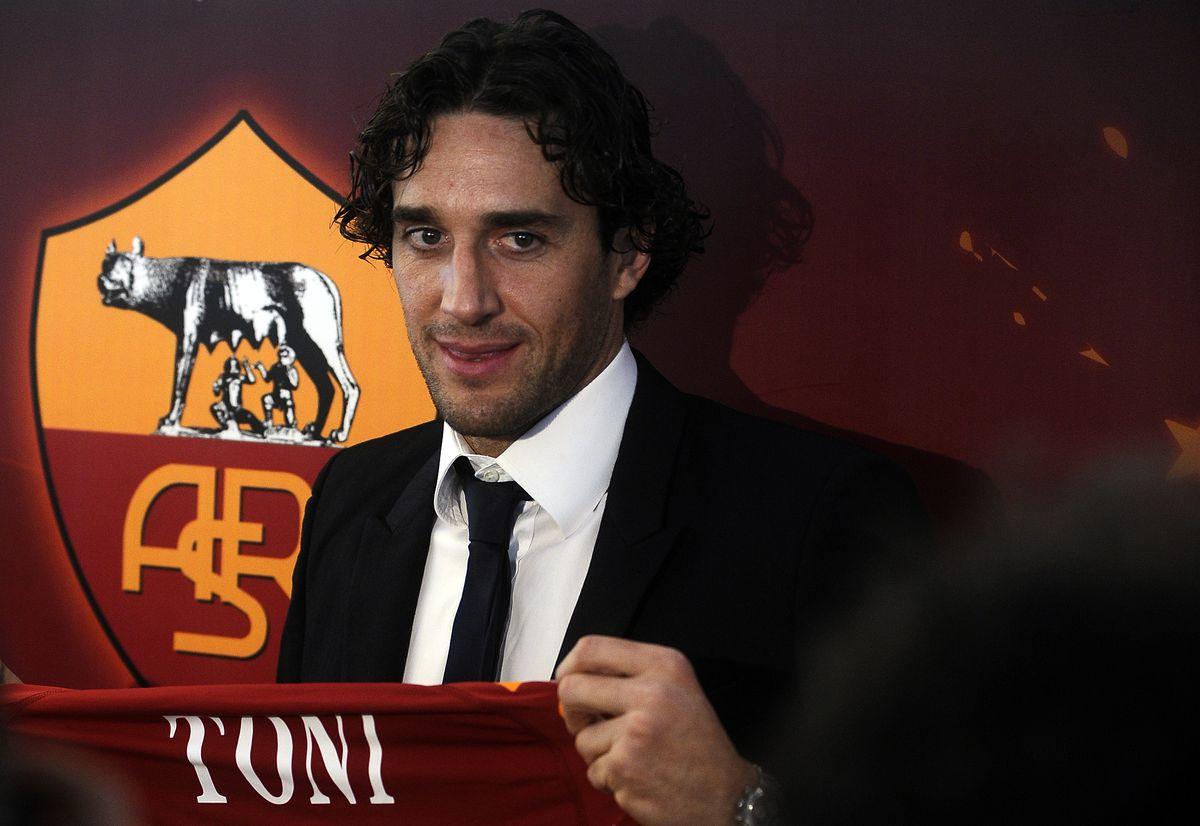 Italian forward Luca Toni poses with his