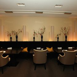 Alinea's modern, minimalist elegance allows diners to enjoy the entire experience from the level of comfort in chairs and banquettes to seeing Grant Achatz's beautiful and dramatic food presented on gorgeous mahogany tables. Even though the design is cons
