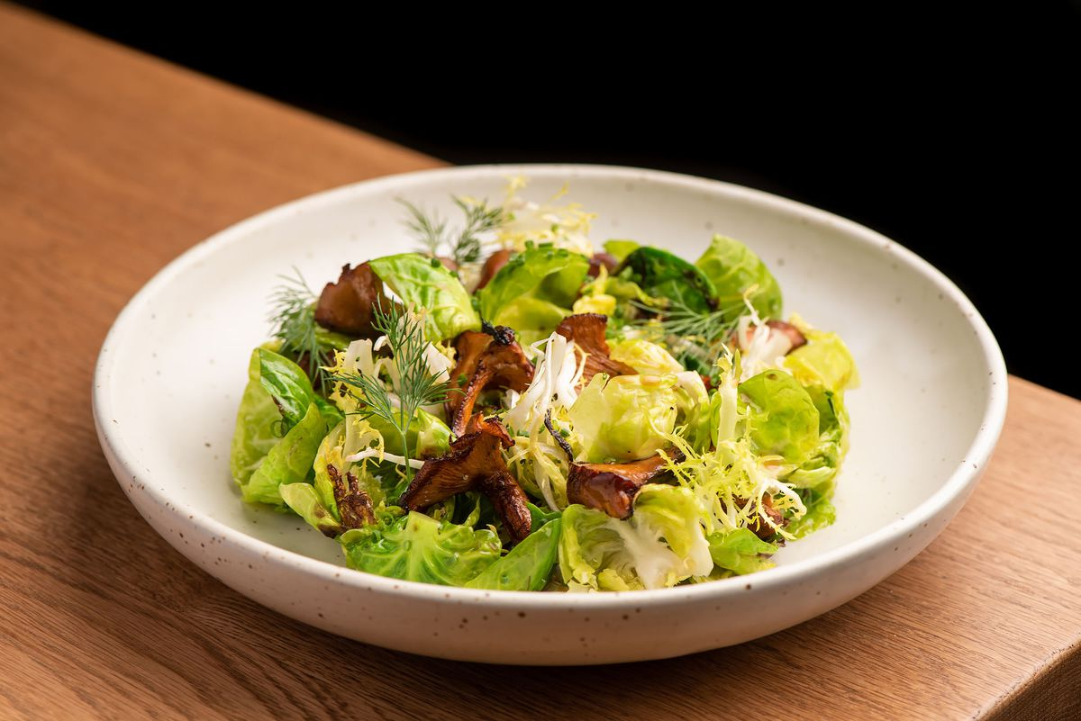 Brussels sprouts and mushrooms in a fall salad.