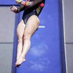 Utah's Maile O'Keefe competes on the vault during a meet against Arizona at the Huntsman Center in Salt Lake City on Saturday, Jan. 23, 2021.