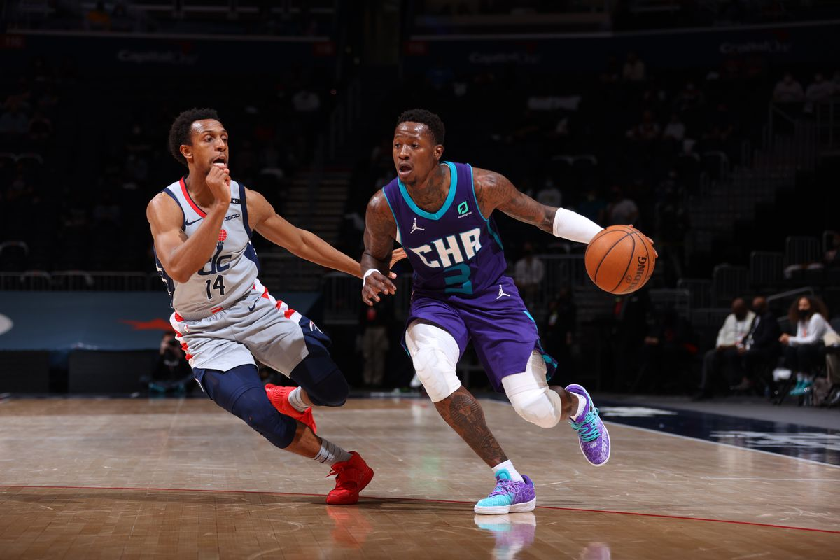 Terry Rozier #3 of the Charlotte Hornets drives to the basket during the game against the Washington Wizards on May 16, 2021 at Capital One Arena in Washington, DC.