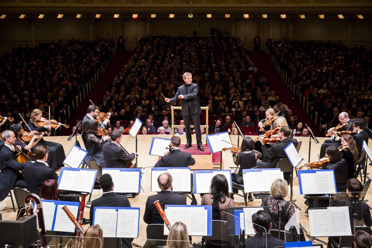 Thierry Fischer conducts the Utah Symphony on April 29, 2016, at Carnegie Hall for the orchestra's 75th anniversary celebration concert.