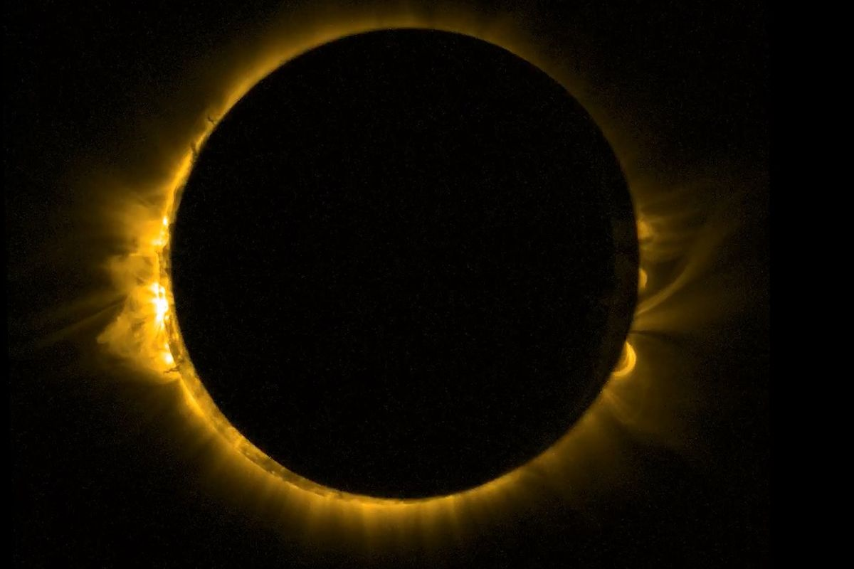 The near-total eclipse, photographed from space by the European Space Agency's Proba-2 Satellite.
