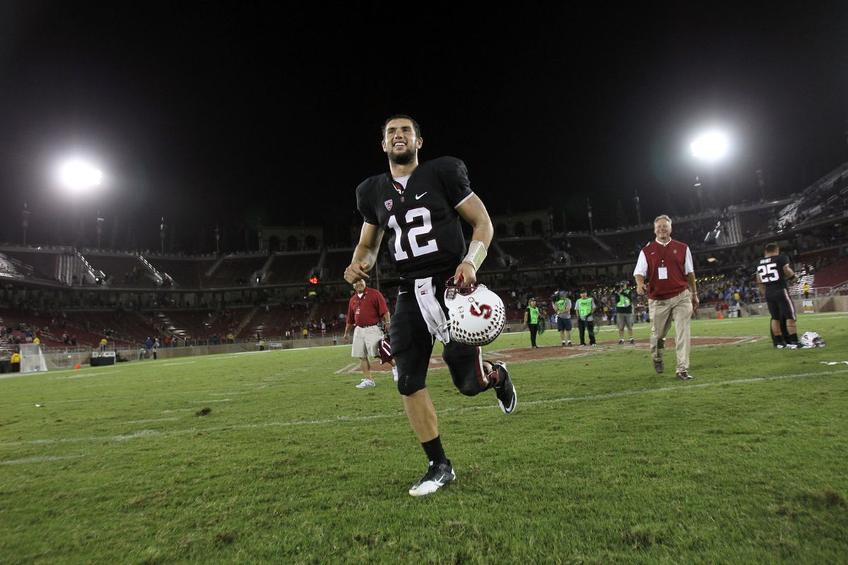 STANFORD, CA - OCTOBER 01:  Andrew Luck #12 of the Stanford Cardinal jogs off the fields after beating the UCLA Bruins at Stanford Stadium on October 1, 2011 in Stanford, California.  (Photo by Ezra Shaw/Getty Images)