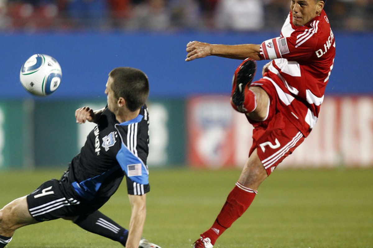 FRISCO, TX - MARCH 26: Daniel Hernandez #2 of FC Dallas kicks the ball past Sam Cronin #4 of the San Jose Earthquakes at Pizza Hut Park on March 26, 2011 in Frisco, Texas. (Photo by Layne Murdoch/Getty Images)