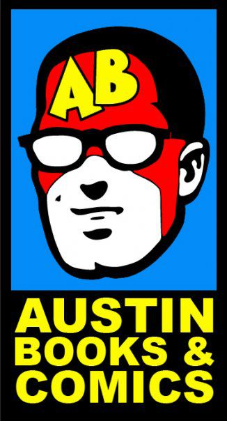 Drawing of strong-jawed white dude with red top of face, glasses, and yellow letters AB on forehead