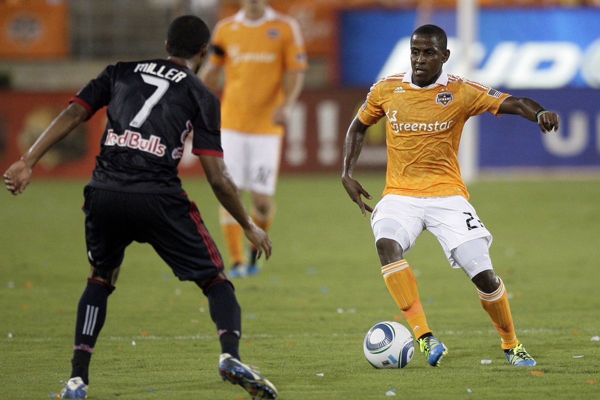 HOUSTON - MAY 21: Do we blame Lovel Palmer #22 of the Houston Dynamo? (Photo by Bob Levey/Getty Images)