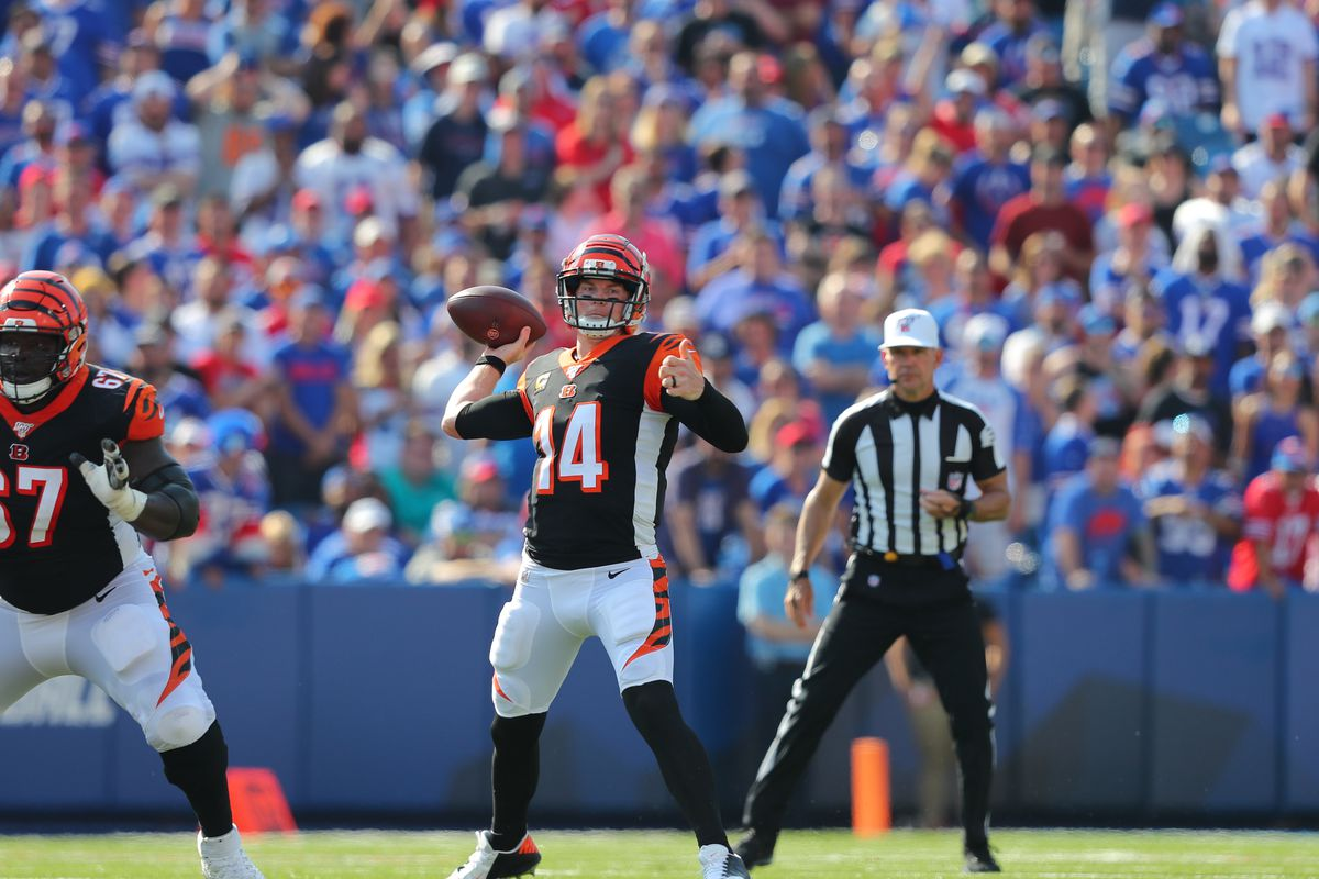 Andy Dalton of the Cincinnati Bengals throws a pass during the second half against the Buffalo Bills at New Era Field on September 22, 2019 in Orchard Park, New York.