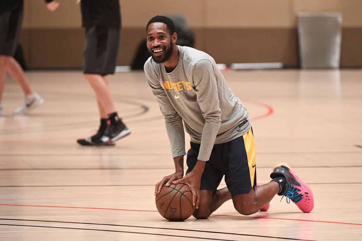 Will Barton of the Denver Nuggets smiles during practice as part of the NBA Restart 2020 on July 29, 2020 in Orlando, Florida.
