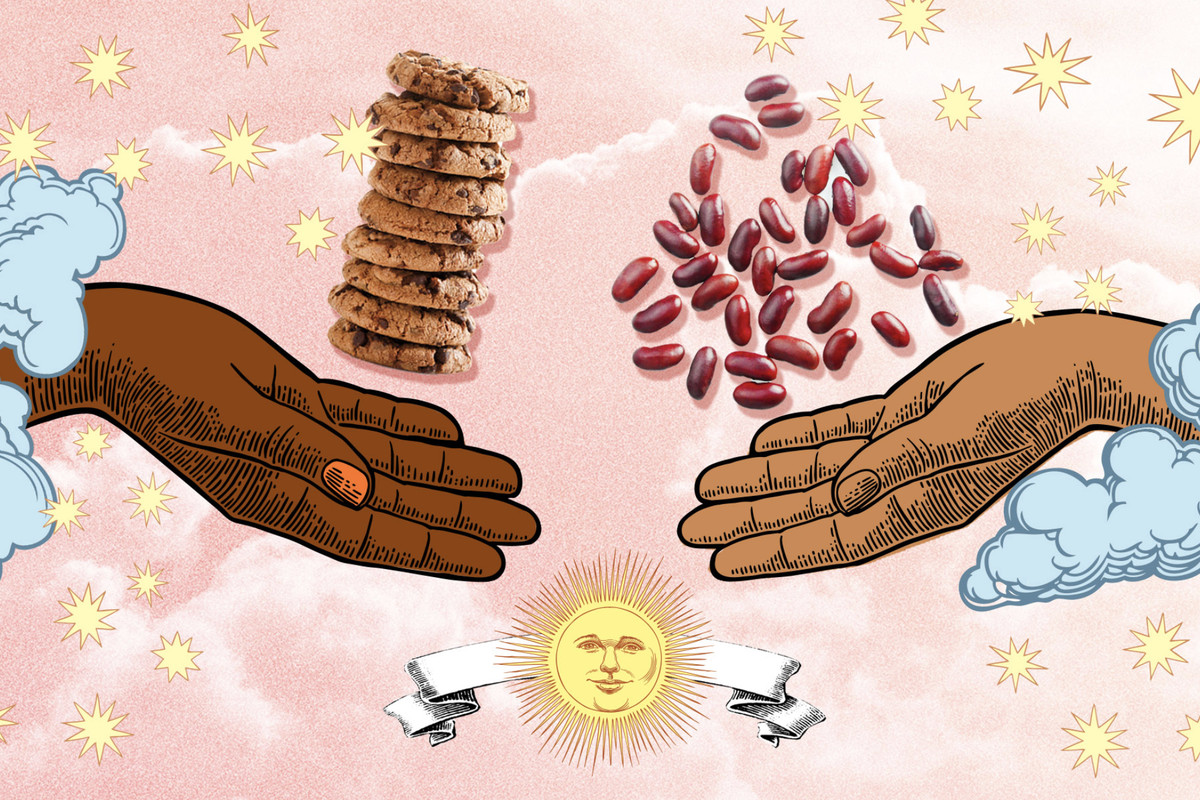 An illustration of two hands exchanging beans and cookies