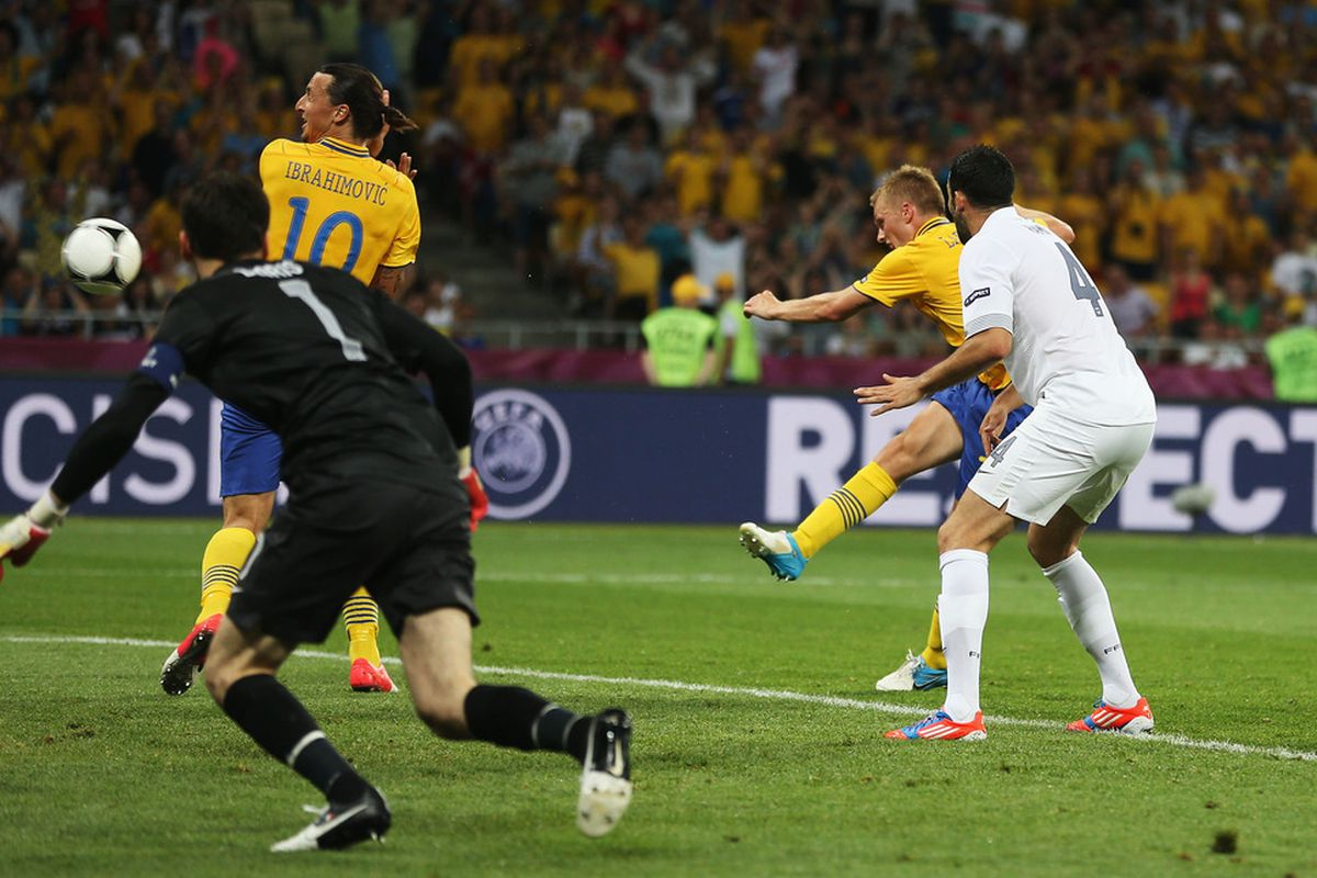 Sebastian Larsson of Sweden scores his teams second goal during the UEFA EURO 2012 group D match between Sweden and France at The Olympic Stadium on June 19, 2012 in Kiev, Ukraine.