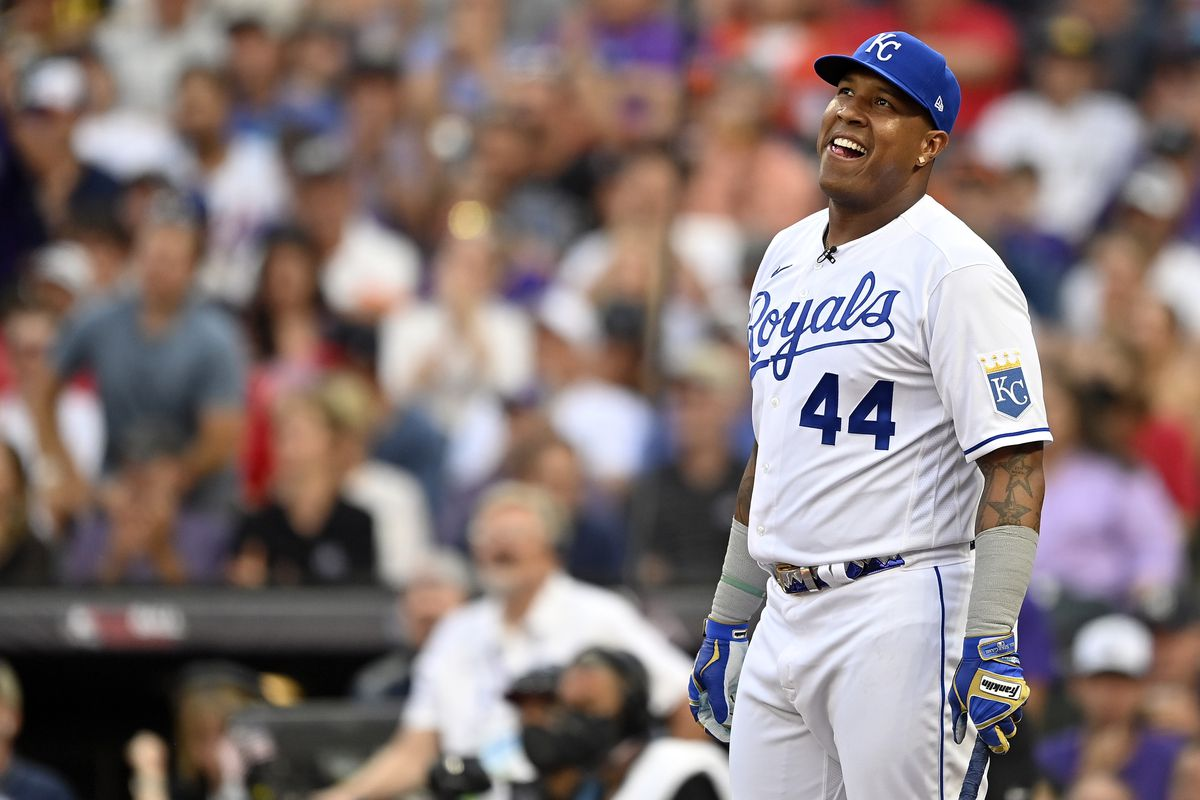 Salvador Perez #13 of the Kansas City Royals reacts during the 2021 T-Mobile Home Run Derby at Coors Field on July 12, 2021 in Denver, Colorado.