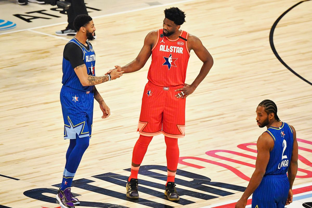Team LeBron forward Anthony Davis of the Los Angeles Lakers shakes hands with Team Giannis center Joel Embiid of the Philadelphia 76ers before the 2020 NBA All Star Game at United Center.