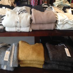 Closed sweaters, starting at $158