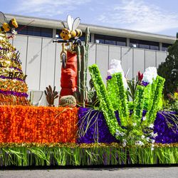 The Wasatch Stake float is pictured during the Days of '47 Union Pacific Railroad Youth Parade held Saturday, July 18, 2015, in Salt Lake City.