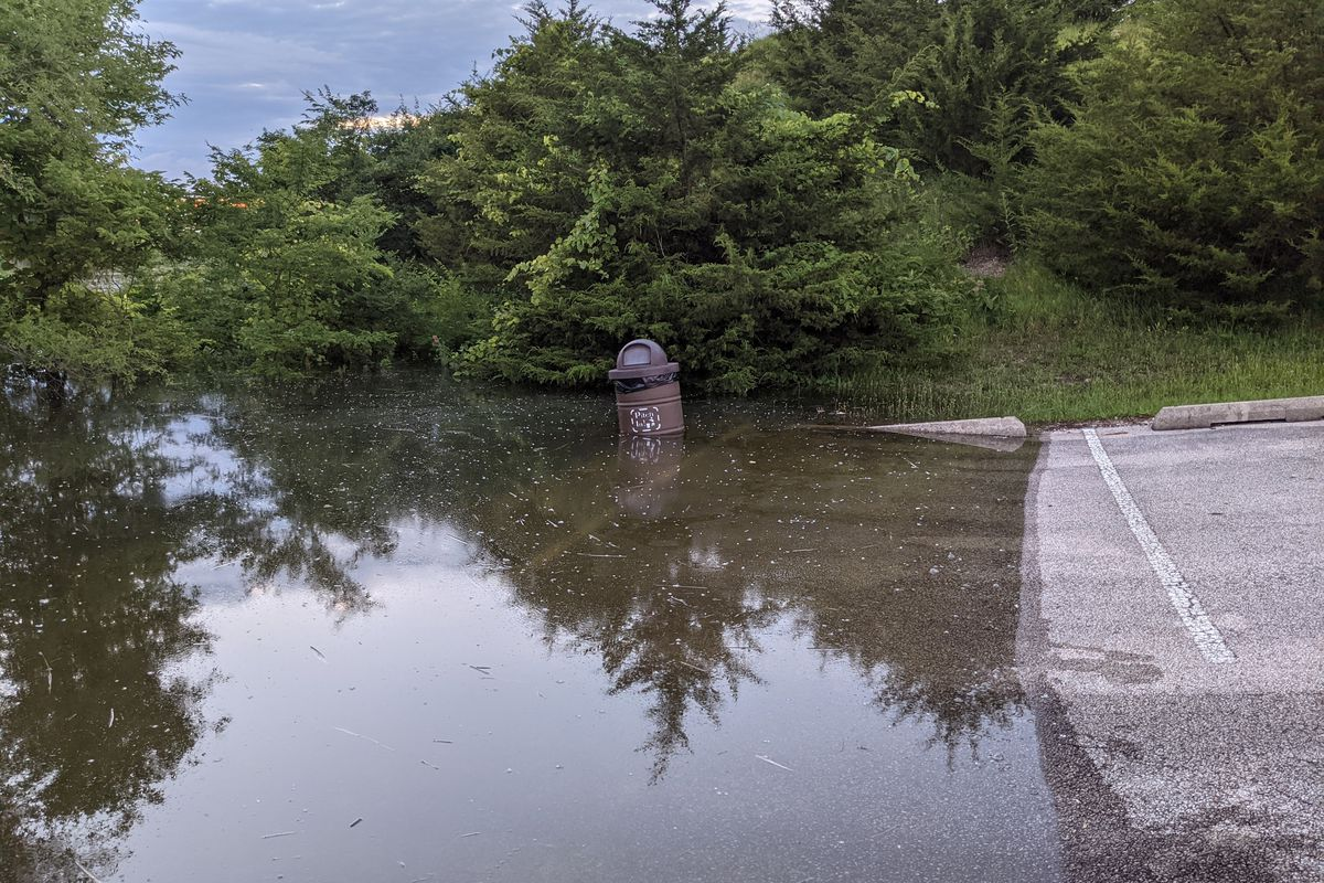 A photo of the times, taken Sunday evening at Mazonia SFWA (I caught a white bass off that flooded trash can). Credit: Dale Bowman