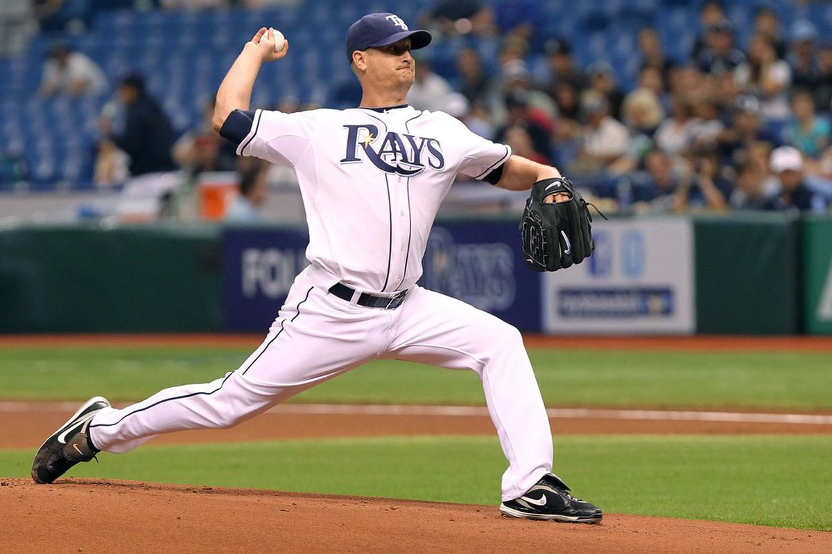 May 19, 2012; St. Petersburg, FL, USA; Tampa Bay Rays starting pitcher Alex Cobb (53) throws a pitch in the first inning against the Atlanta Braves at Tropicana Field. Mandatory Credit: Kim Klement-US PRESSWIRE