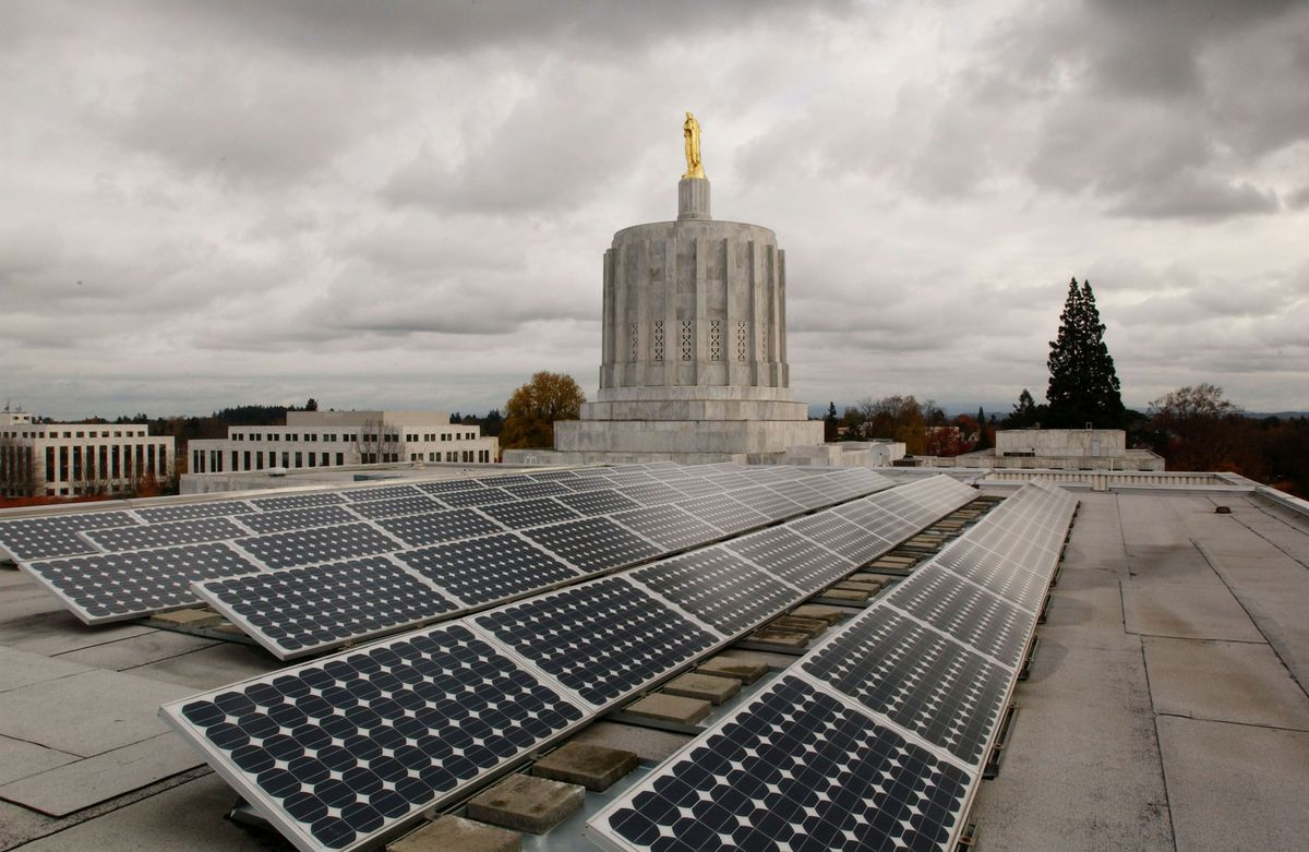 A small-scale solar project ... on top of the Oregon State Capitol.