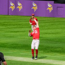 Cam Chick locates a fly ball at US Bank Stadium