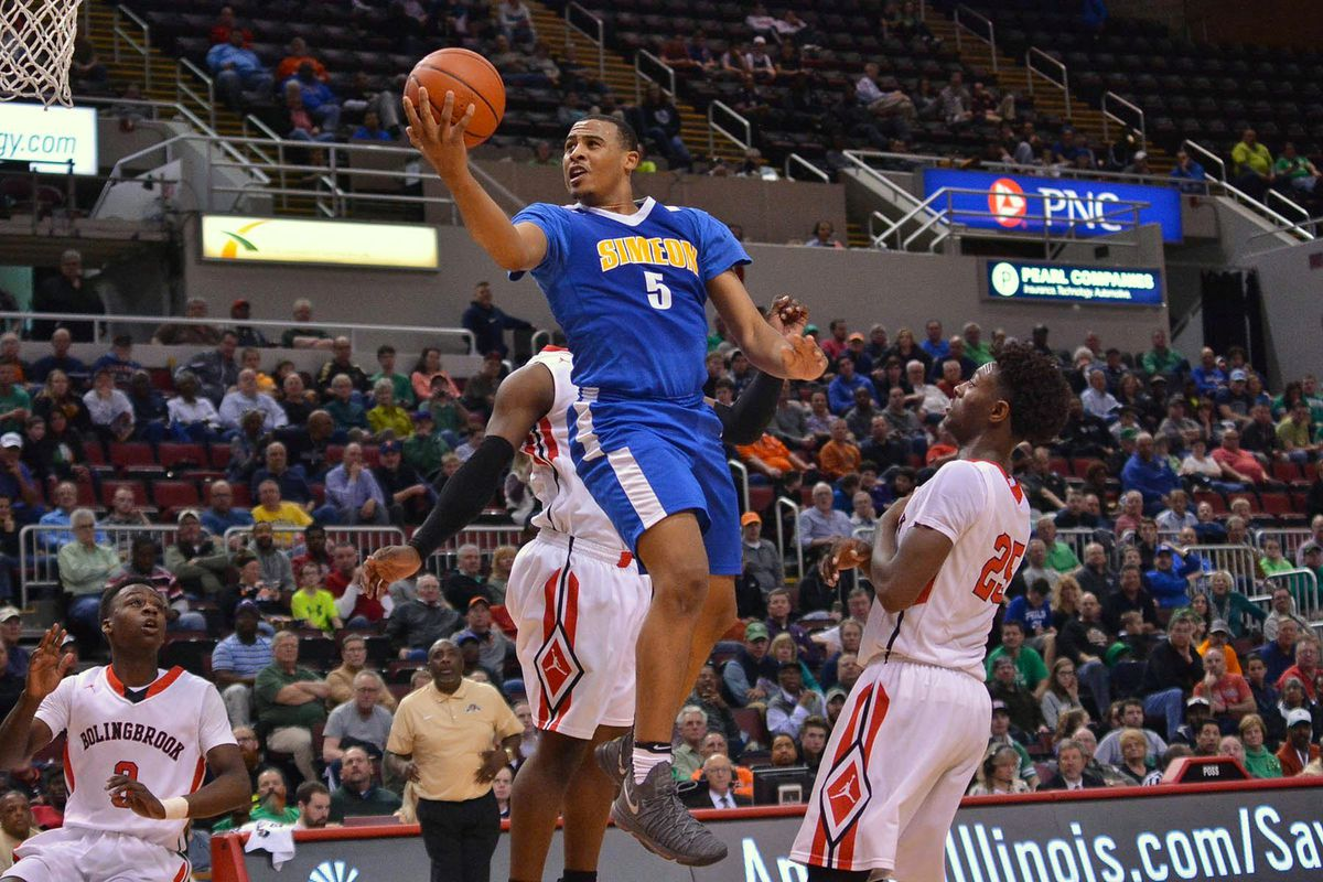 Talen Horton-Tucker (5) of Simeon glides to the basket against Bolingbrook. Worsom Robinson/ For the Sun-Times.