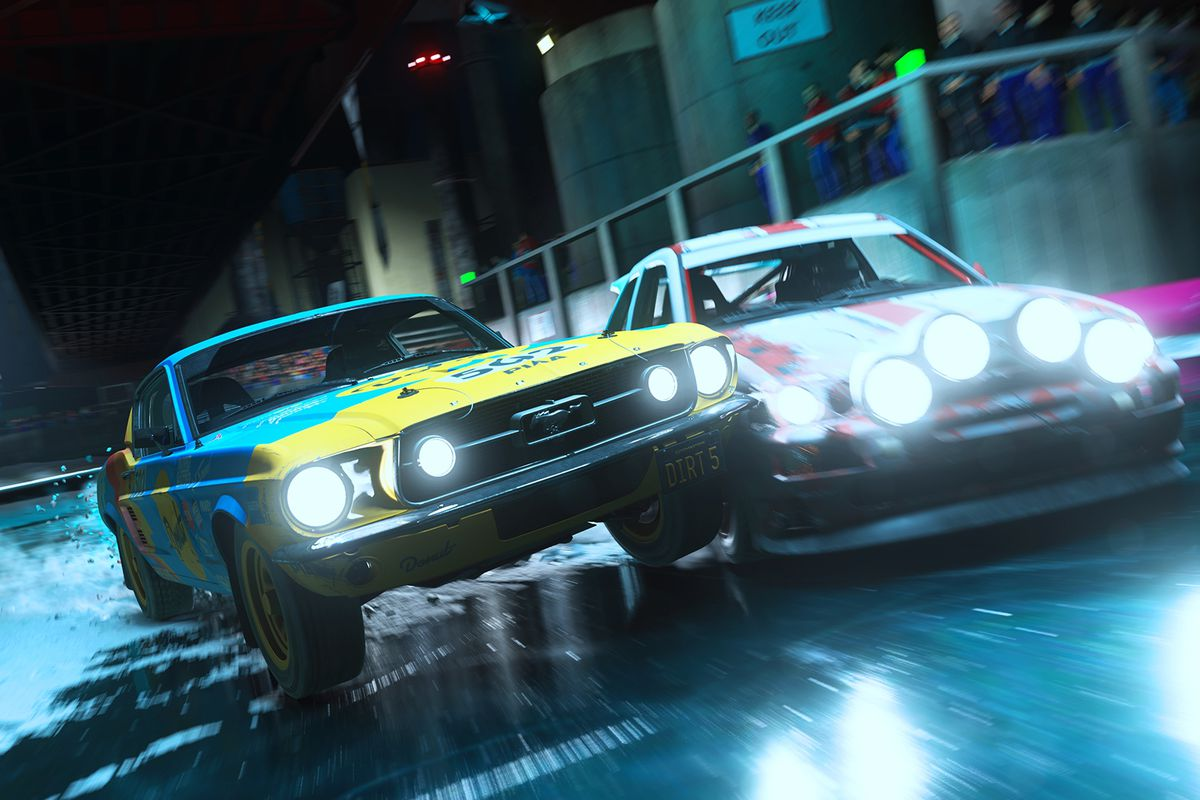 Cars race at nighttime in a screenshot from Dirt 5