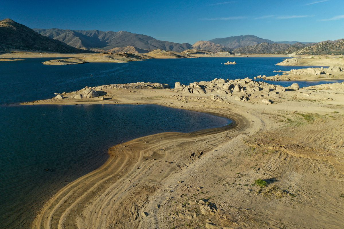 In an aerial view, an expanding shoreline is seen on June 14, 2021 near Lake Isabella, California.