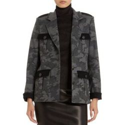 """<b>Laveer</b> flannel jacket, <a href=""""http://www.barneyswarehouse.com/laveer-officer%27s-jacket-in-gray-flannel-camo-502800376.html?index=40&cgid=clearance-whswclothing"""">$74.50</a>"""