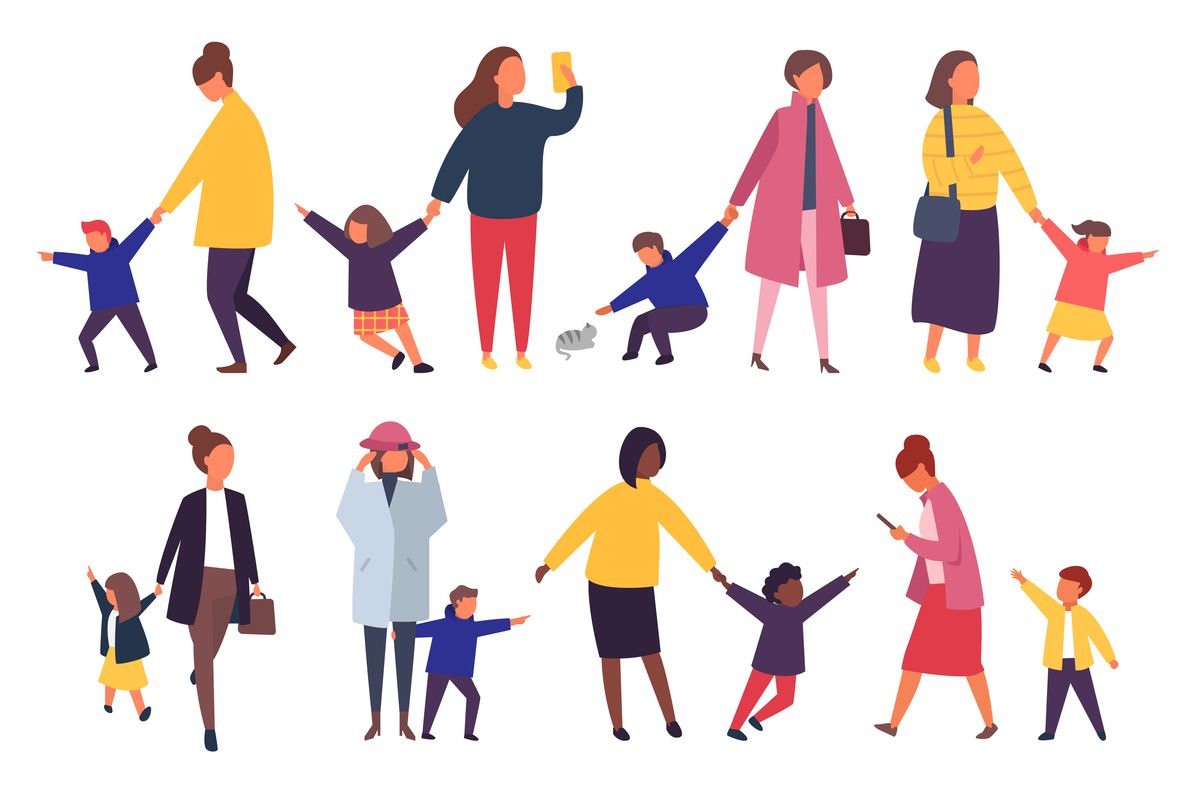 An illustration of eight different mothers being pulled about by eight different children.