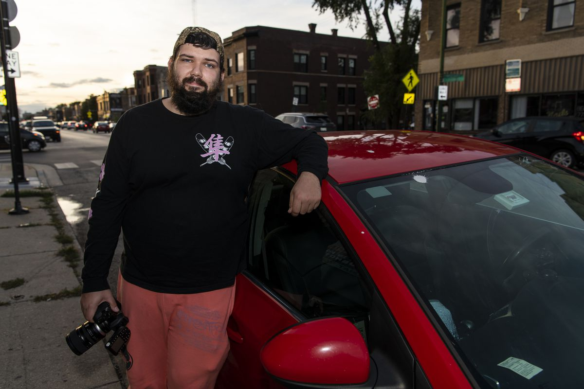 Photographer Harry Aaron has been traveling around the country and living in his car, taking professional headshots for whatever people can afford to pay. He was at the Logan Square Creative Studio on Friday, Oct. 2, 2020.