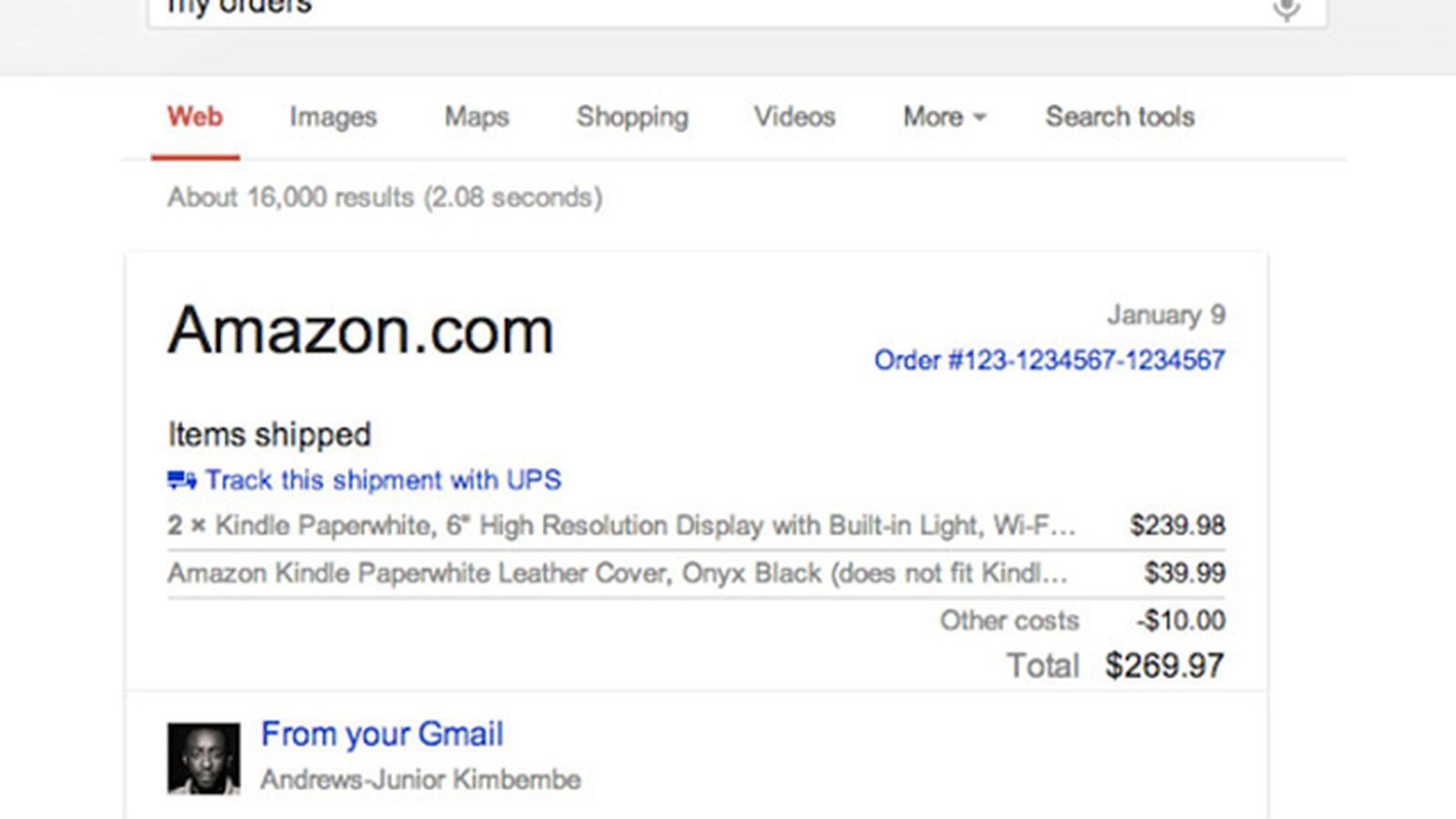 Google search trial now finds your Gmail receipts, hotel