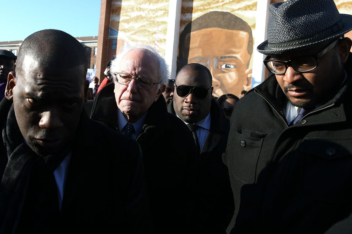 Bernie Sanders with civic leaders in Baltimore, Maryland, close to the site of Freddie Gray's arrest last year. Sanders lost the city to Hillary Clinton by huge margins on Tuesday.