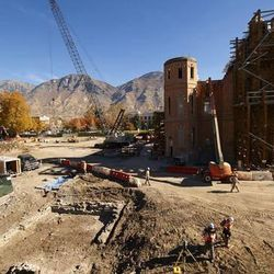 While construction continues on the Provo City Center Temple, Church and BYU archaeologists uncover remnants of Utah County's earliest Latter-day Saint baptismal font, located a few yards west of the temple.