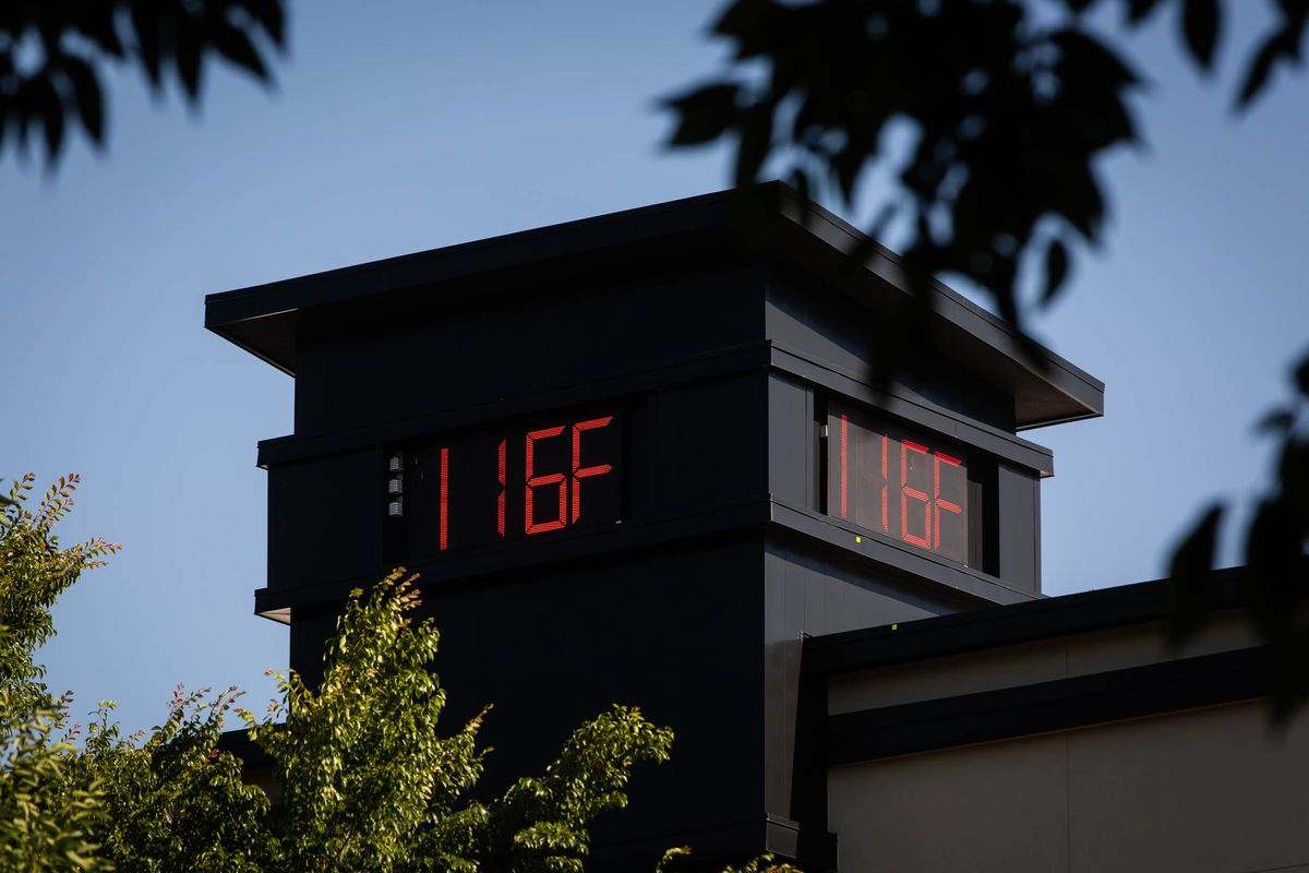 A thermometer display on the exterior of a building reading 116 degrees Fahrenheit during a heatwave in Portland, Oregon, on June 28, 2021.