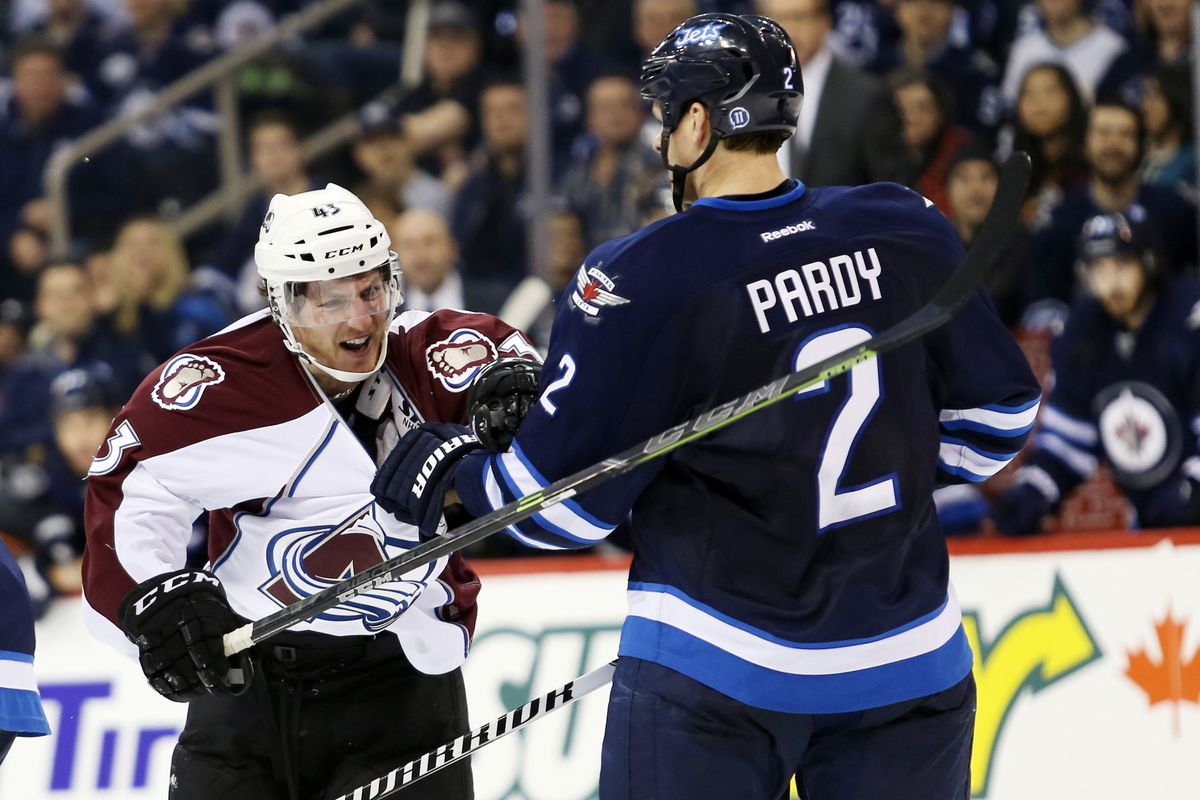 A large Jets player bullies a much smaller Avalanche rookie. Shame on you Pardy.
