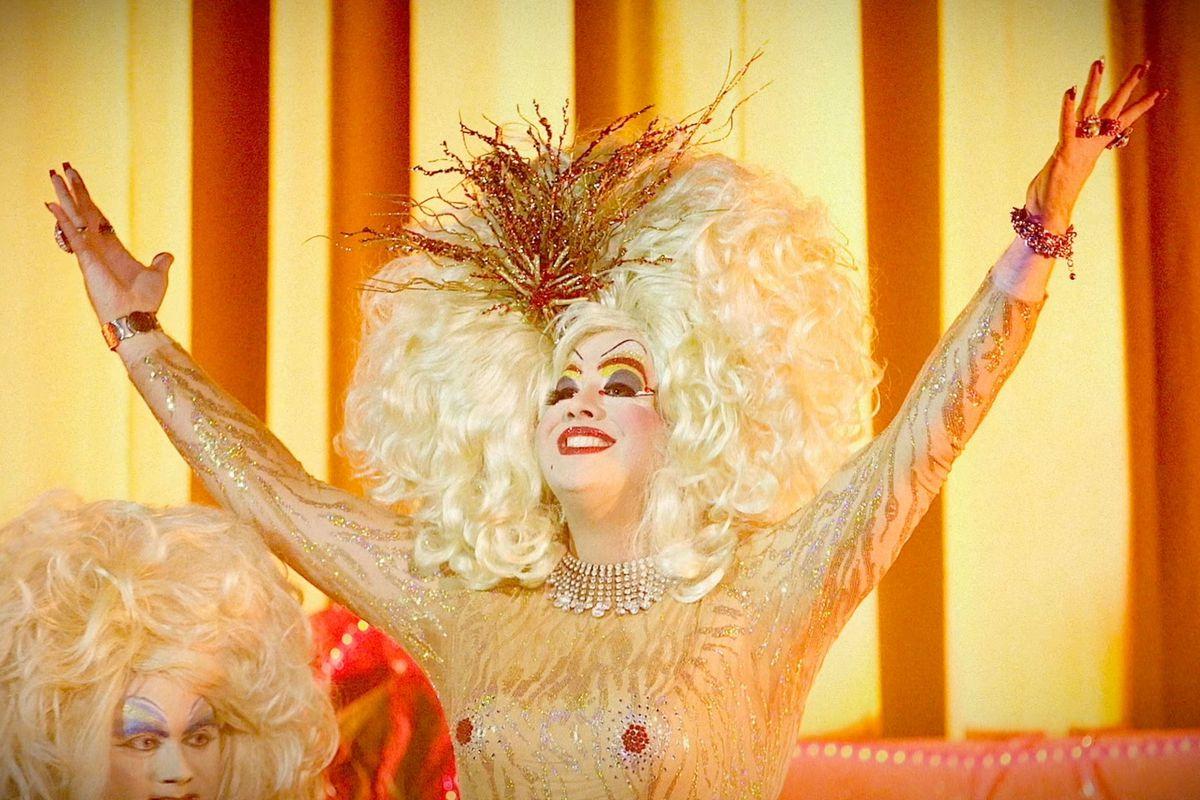 Peaches Christ, a Showgirls fan in full gold regalia, in You Don't Nomi