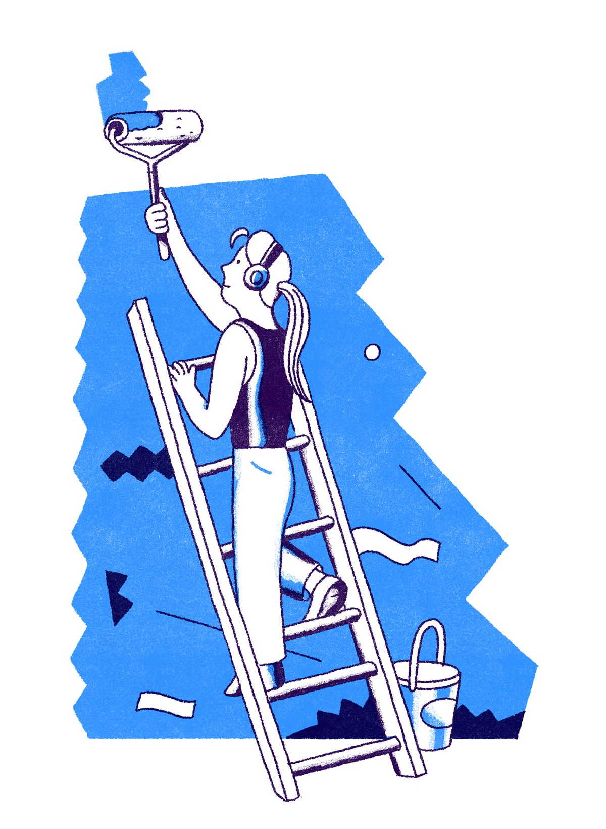 A lady with headphones on stands on a ladder happily painting a wall with a paint roller. Illustration.