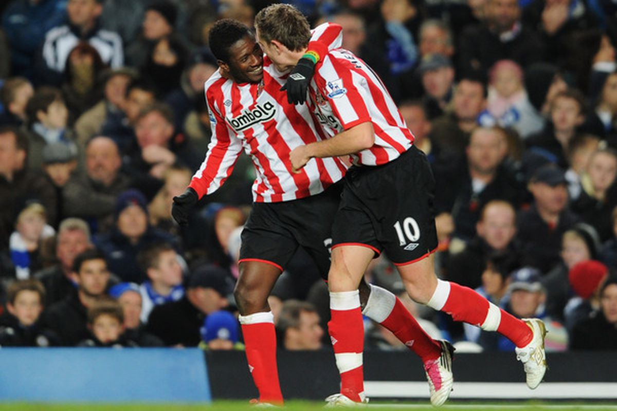 I don't have anything witty to say about this picture. I just think that Sunderland's Asamoah Gyan and Jordan Henderson look adorable. (Photo by Michael Regan/Getty Images)