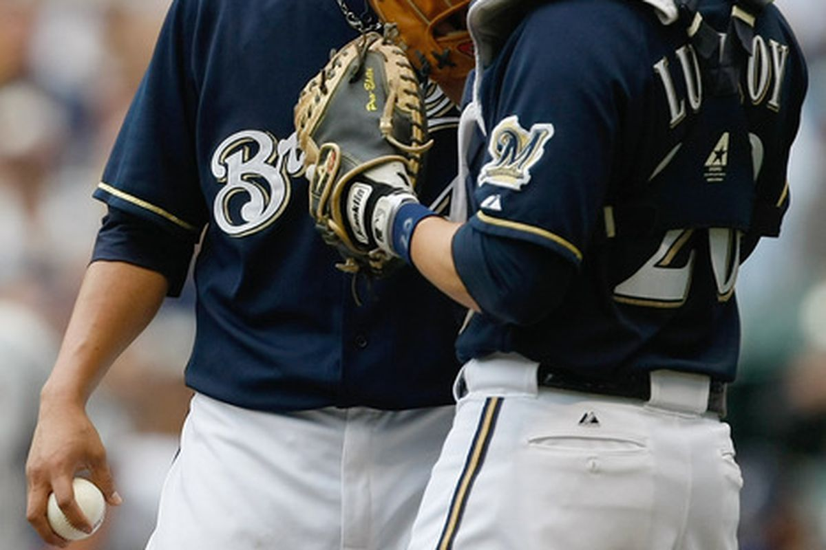 Yovani Gallardo and Jonathan Lucroy are hoping to get the Brewers back on track with a repeat of the success they had together on Saturday.