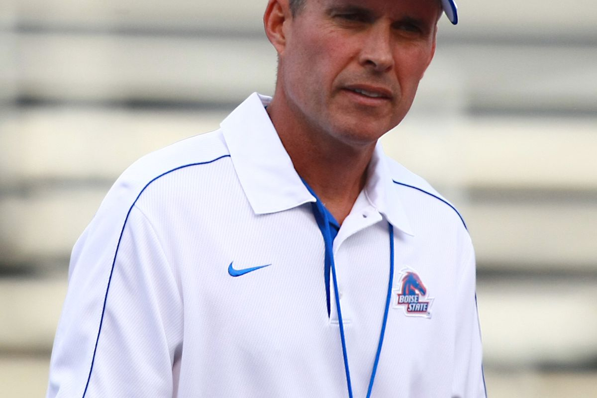 Aug 18, 2012; Boise, ID, USA; Boise State Broncos head coach Chris Petersen during the fall scrimmage at Bronco Stadium. Mandatory Credit: Brian Losness-US PRESSWIRE
