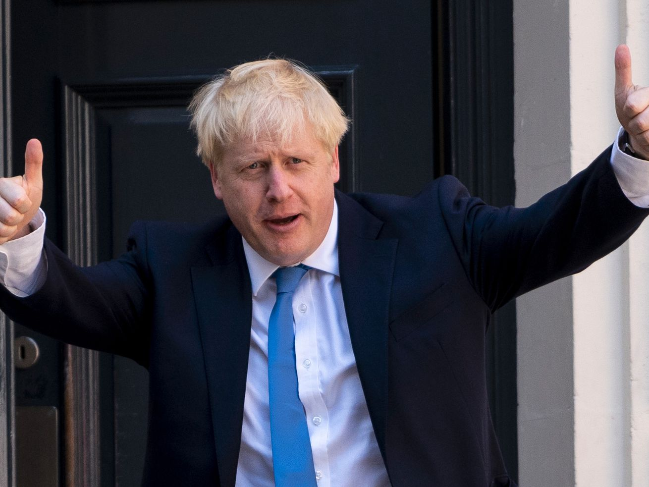 New UK Conservative Party leader and incoming Prime Minister Boris Johnson arrives at the Conservative Party headquarters in central London on July 23, 2019.