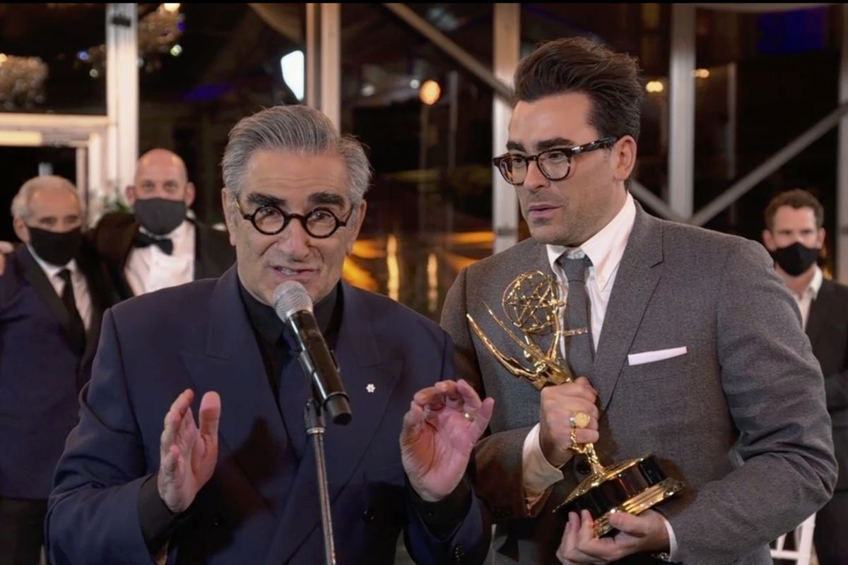 Eugene Levy and Daniel Levy of Schitt's Creek accept the 2020 Emmy for Outstanding Comedy Series.