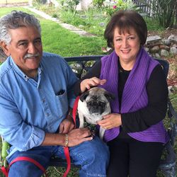 This May 17, 2017 photo provided by Solvej Schou shows 6-year-old pug Lola with Altadena, Calif., couple Cynthia Rodriguez, 64, and Geraldo Rodriguez, 66, in Pasadena, Calif. Lola is owned by the couple's 31-year-old daughter. (Solvej Schou via AP)