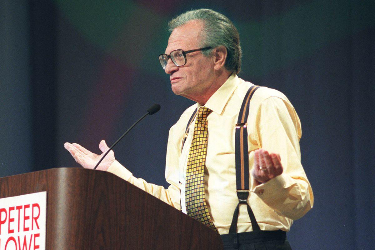 Larry King speaks at the Success Seminar held in Utah in 2000. King died on Jan. 23, 2021, at age 87.