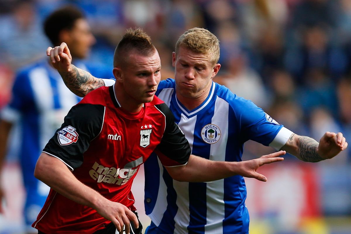 Ryan and James go head to head as Wigan beat Ipswich 2-0 earlier in the season.