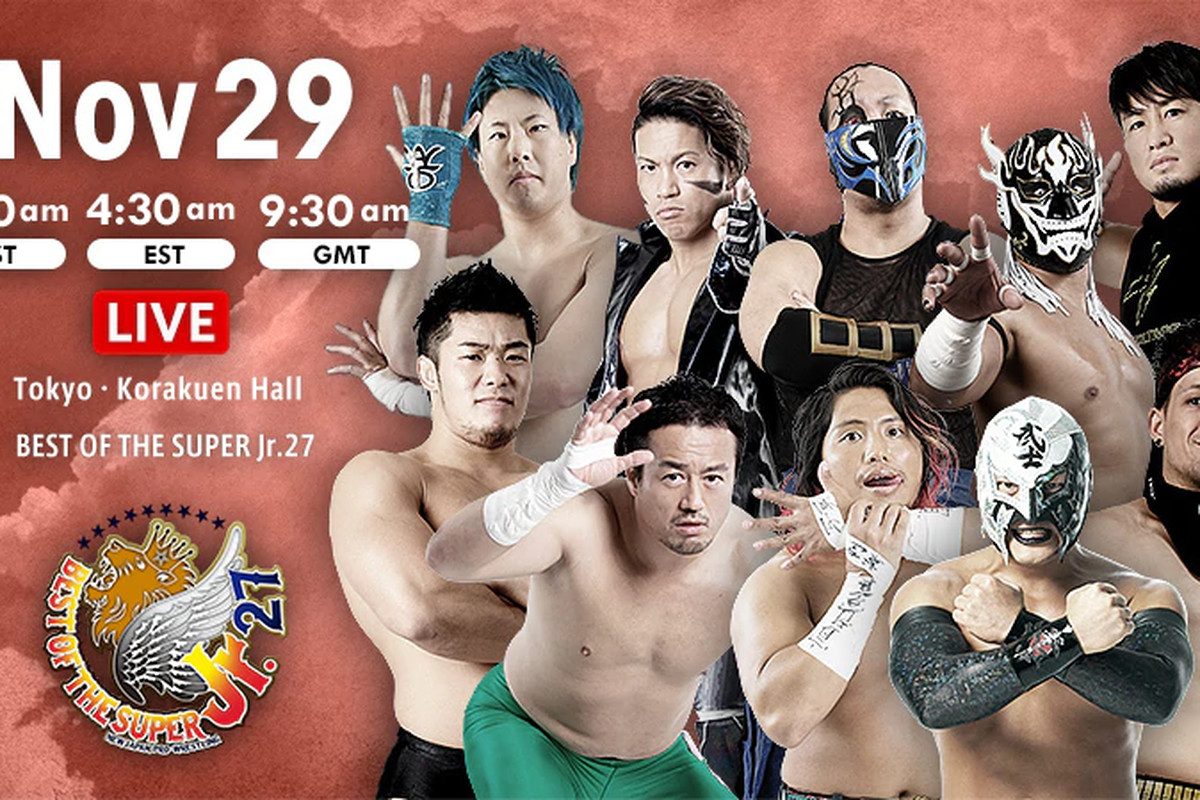 Lineup graphic for night eleven of NJPW Best of the Super Jr. 27