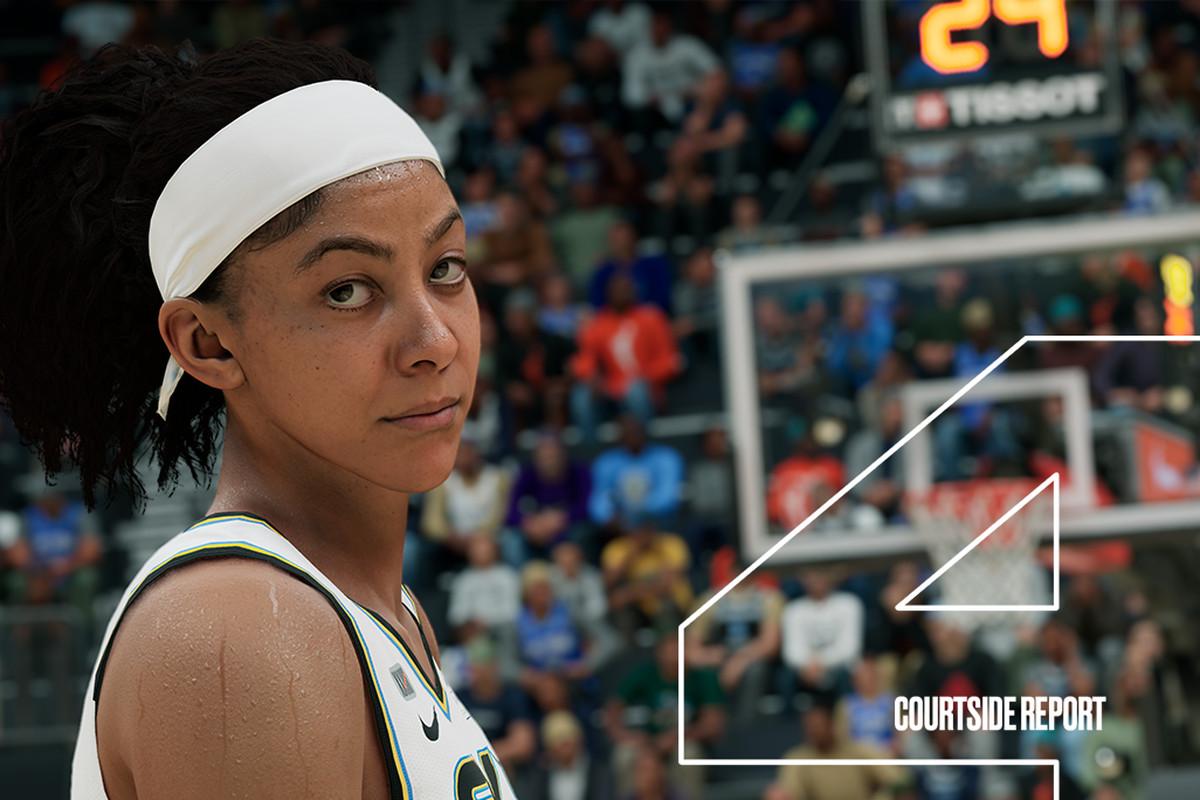 Closeup of a WNBA player giving the camera a side-eye?